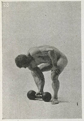 Physical Training Photograph - Lifting A Weight by British Library