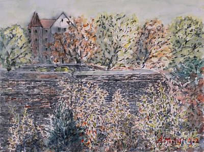 Art Print featuring the painting lifting dark Nuremberg emperors castle by Alfred Motzer