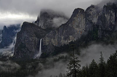 Lifting Fog And Clouds At Bridalveil Fall Art Print
