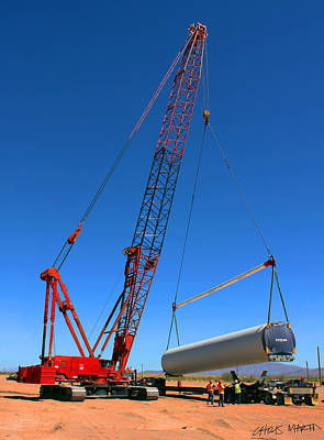 Tower Crane Photograph - Lifting Wind Towers by Chris Martin