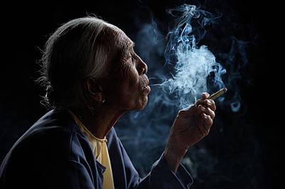Old Hands Photograph - Light & Smoke by Vichaya