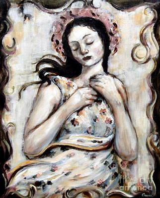 Light And Flower Angel Art Print by Carrie Joy Byrnes