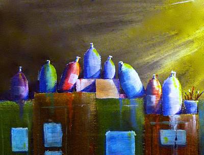 Painting - Light And Shadow On Paint Bottles by Vic Delnore