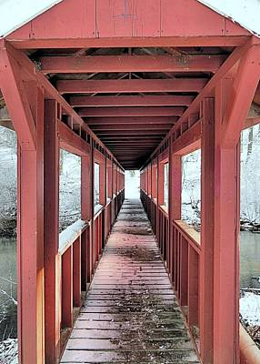 Photograph - Light At The End Of Covered Bridge by Janice Drew