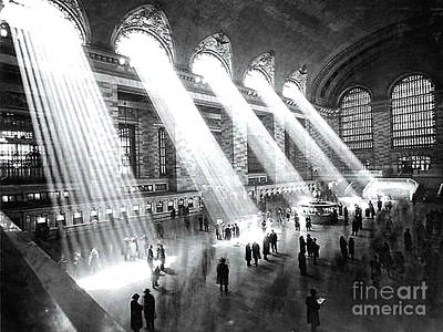 Photograph - Light Beams Grand Central Station 1929 by Merton Allen