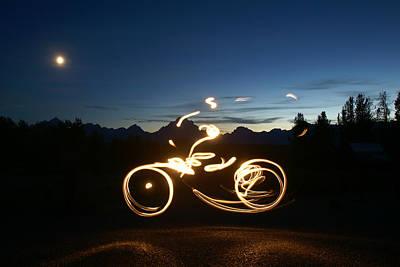 Teton Drawing - Light Bike by Phil  Craddock