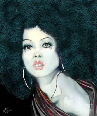 Diana Ernestine Earle Ross Wall Art - Painting - Light Blue Diana Ross-2a by Reggie Duffie