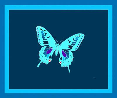 Light Blue Electric Butterfly Art Print by L Brown