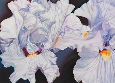 Microcosm Painting - Light Blue Irises  by Georgia  Michaelides Saad