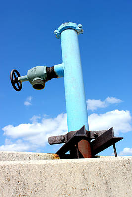 Concrete Mixed Media - Light Blue Pipe Industrial Decay Series No 005 by Design Turnpike