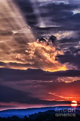 Light Breaks Through Clouds Sunrise Art Print