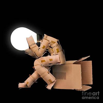 Mail Box Photograph - Light Bulb Box Man Character by Simon Bratt Photography LRPS