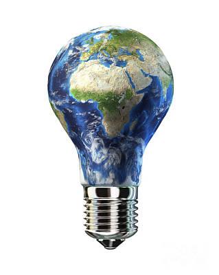 Light Bulb With Planet Earth Art Print by Leonello Calvetti