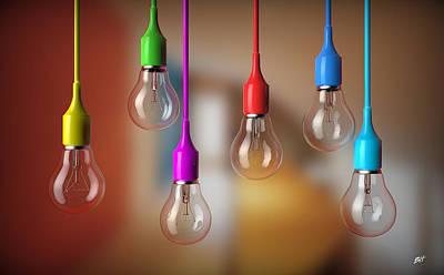 Light Bulbs Hanging Art Print by Bruno Haver