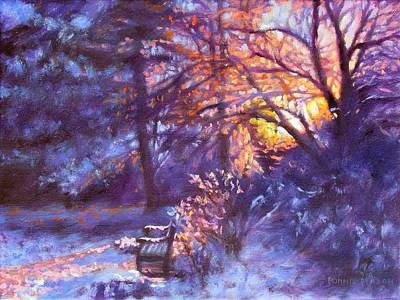 Winter Scene Painting - Light Dusting by Bonnie Mason