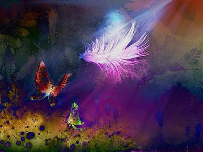 Light Feather Art Print by Lilia D