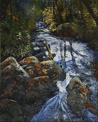 Peter Muzyka Wall Art - Painting - Light Flittering Downstream by Peter Muzyka