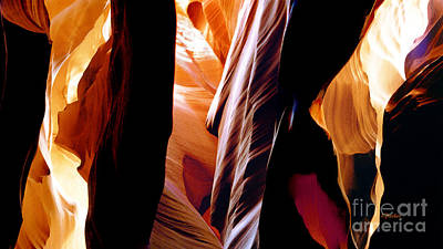 Tryptych Digital Art - Slot Canyon - Light From Above 8 by Linda  Parker