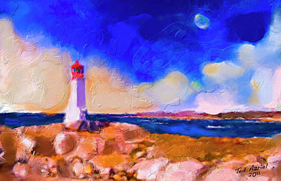 Art Print featuring the painting Light House At Peggys Cove by Ted Azriel