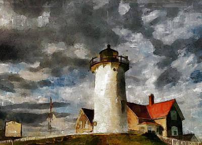 Beach House Signs - Light House In A Storm by Georgiana Romanovna