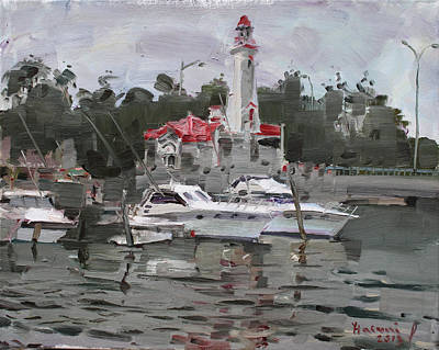 Yacht Painting - Light House In Mississauga On by Ylli Haruni