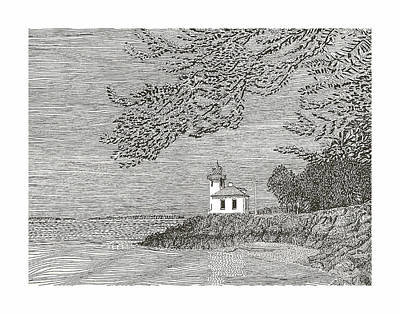 Light House On San Juan Island Lime Point Lighthouse Art Print by Jack Pumphrey
