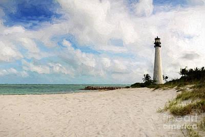 Light House On The Beach Art Print by Carsten Reisinger