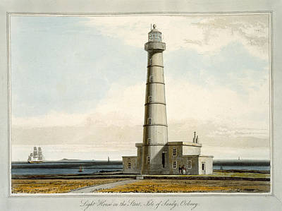 Isolated Drawing - Light House On The Start, Isle by William Daniell