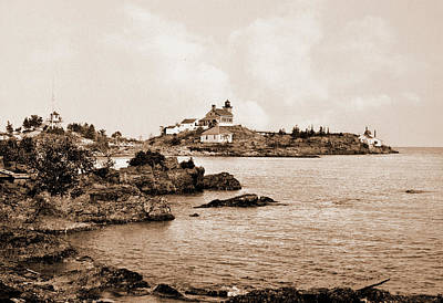 Marquette Drawing - Light House Point Near Marquette, Michigan, United States by Litz Collection