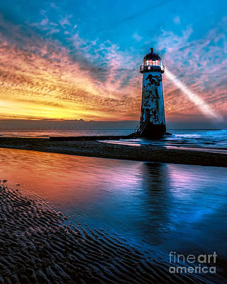 North Wales Photograph - Light House Sunset by Adrian Evans