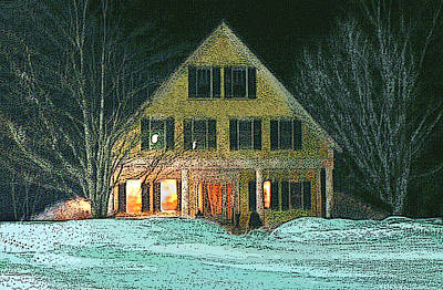 Digital Art - Light In A Winter's Night by Nancy Griswold