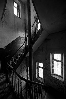 Haunted House Photograph - Light In The Dark Abandoned Staircase by Dirk Ercken