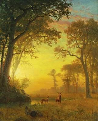 Elk Digital Art - Light In The Forest by Albert Bierstadt