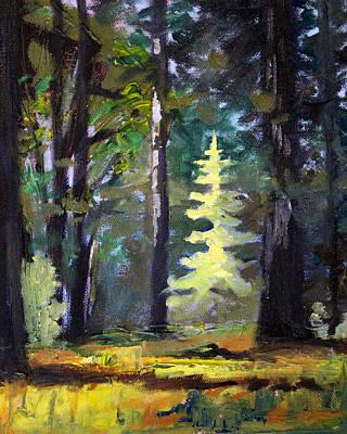 Sunriver Painting - Light In The Forest by Nancy Merkle