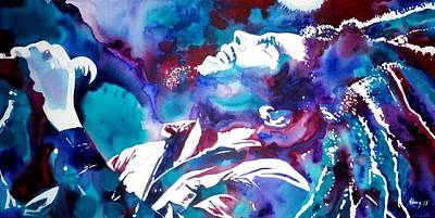 Bob Marley Abstract Painting - Light My Fire by Joo Chung