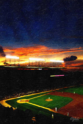 Wrigley Field Digital Art - Lights Of Wrigley Field by Ryan Cosgrove