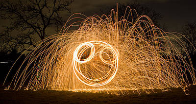 Photograph - Light Painting Smile by Teresa Hunt