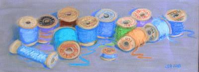 Seemstress Drawing - Light Pastel Spools by Joseph Hawkins