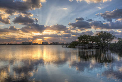 Sunrise At The Bridge Photograph - Light Rays by Debra and Dave Vanderlaan