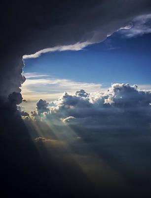 Light Shafts From Thunderstorm II Art Print