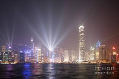 Light Show In Hong Kong Print by Matteo Colombo