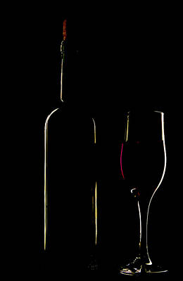 Light Silhouette Of Bottle And Wineglass Art Print by Roman Popov