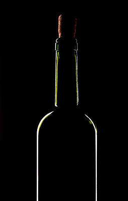 Light Silhouette Of Wine Bottle Art Print by Roman Popov