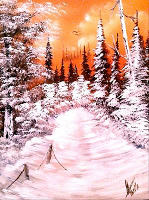 Winter Sunset Painting - Light Snow by Collin A Clarke