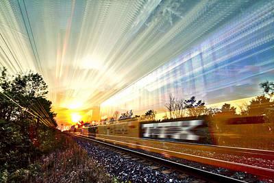 Train Tracks Digital Art - Light Speed by Matt Molloy