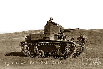 Light Tank M2 A4 757th Tank Battalion Fort Ord California  Army Base 1940 Art Print by California Views Mr Pat Hathaway Archives