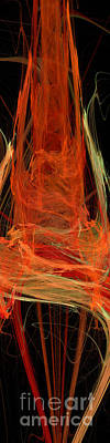 Light The Torch A Flickering Flame - Panorama  - Abstract - Fractal Art Art Print by Andee Design