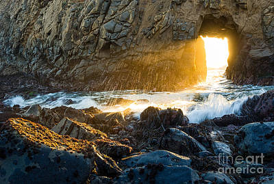 Pfeiffer Beach Photograph - Light The Way - Arch Rock In Pfeiffer Beach In Big Sur. by Jamie Pham