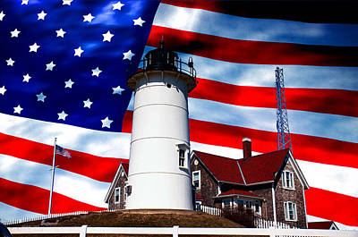 Photograph - Nobska Lighthouse On American Flag by Jeff Folger