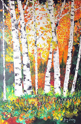 Sunrise On Birch Art Print by Gary Smith
